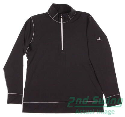 New W/ Logo Womens Footjoy Golf Half Zip Mid Layer1/2 Zip Pullover Large L Black / Charcoal MSRP $95 23450