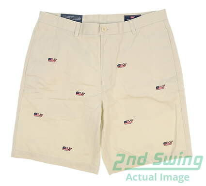 new-mens-vineyard-vines-whale-flag-summer-twill-club-shorts-size-36-stone-msrp-9850-1h0245